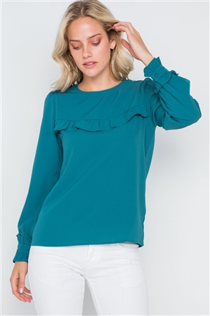 Teal Long Sleeve Ruffle Detail Solid Top