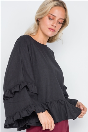 Black Bell Sleeve Ruffle Scoop Neck Boho Top