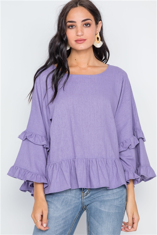 Lilac Bell Sleeve Ruffle Scoop Neck Boho Top