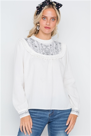 Cream Floral Embroidery Long Sleeve Boho Top