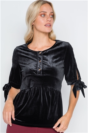 Black Velvet 3/4 Sleeve Shirred Top