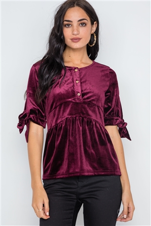 Burgundy Velvet 3/4 Sleeve Shirred Top