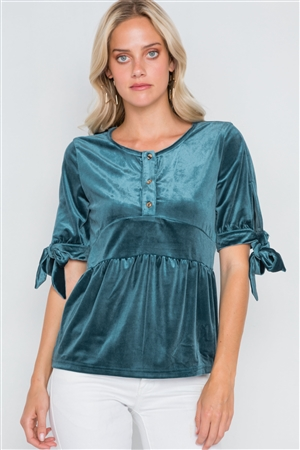 Teal Velvet 3/4 Sleeve Shirred Top