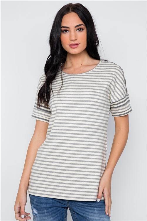 Charcoal Cream Stripe Short Sleeve Top