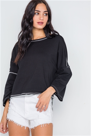 Black Grey Raw-Cut Loose Fit Tee Top