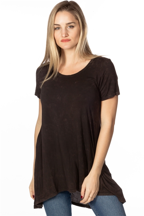 Dark Brown Vintage-Wash Hi-Low Tunic