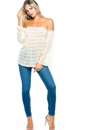 Shirred Mesh Off-the-shoulder Top