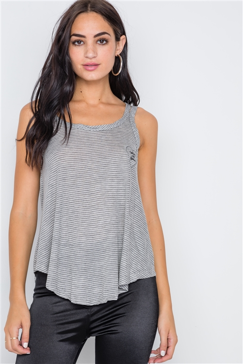 Grey Black Stripe Embroidery Heart Tank Top