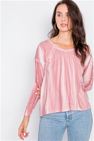 Mauve Tie-Dye Print High-Low Long Sleeve Top