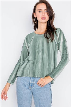 Sage Tie-Dye Print High-Low Long Sleeve Top