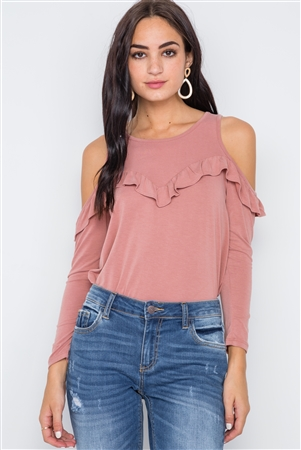 Dusty Rose Knit Cold Shoulder Ruffle Top