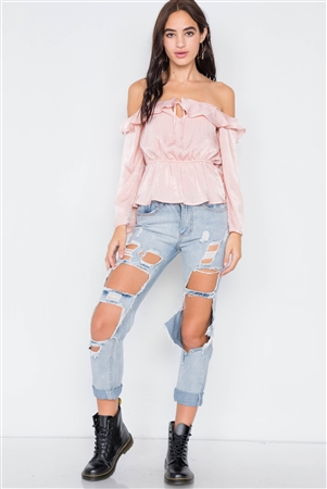 Silk Blush Off-The-Shoulder Flounce Crop Top