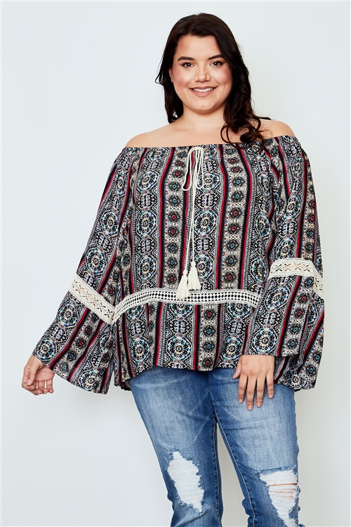 Boho Plus Size Multi  Tassel Tie Off The Shoulder Top