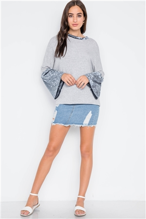 Grey Combo Velvet Sleeves Sweater