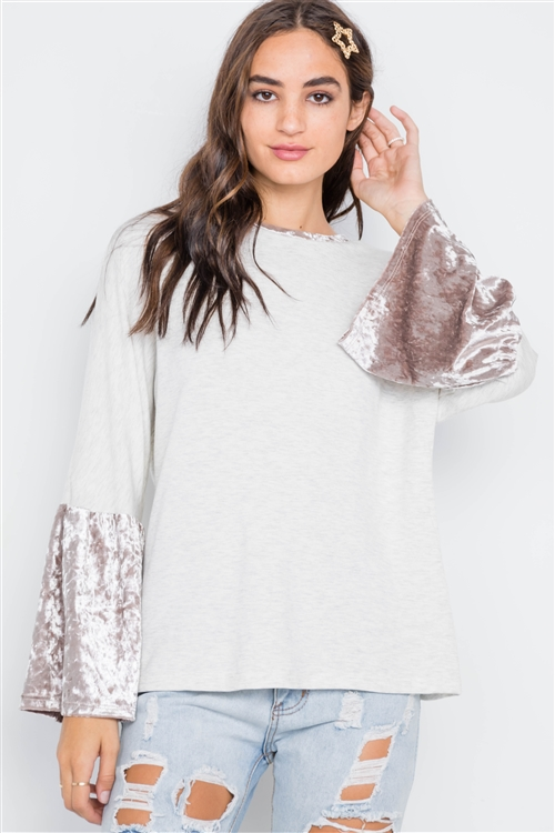 Combo Velvet Sleeves Sweater