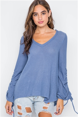 Blue V-Neck Long Sleeve Knit Ribbed Top