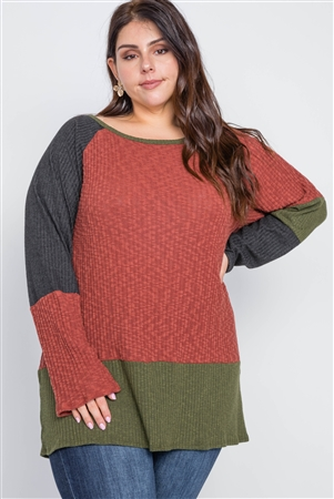 Plus Size Rust Olive Color Block Knit Sweater