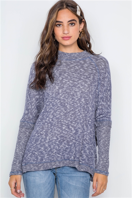 Navy Heathered Dolman Sleeves Knit Sweater Top