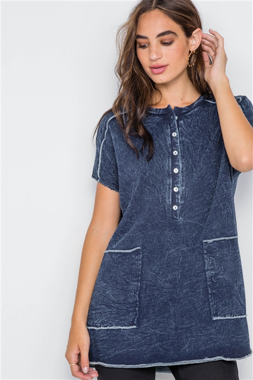Denim Color Short Sleeve Knit Top