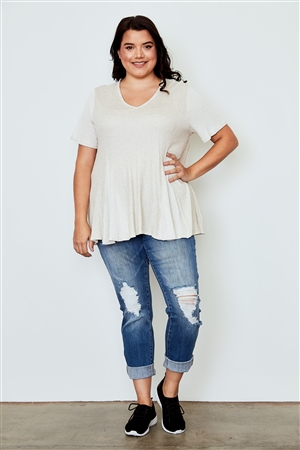 Plus Size Light Taupe V Neck Loose Top