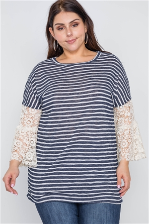 c69630b177901 Quick View this Product Plus Size Navy Taupe Stripe Lace Sleeves Knit Top