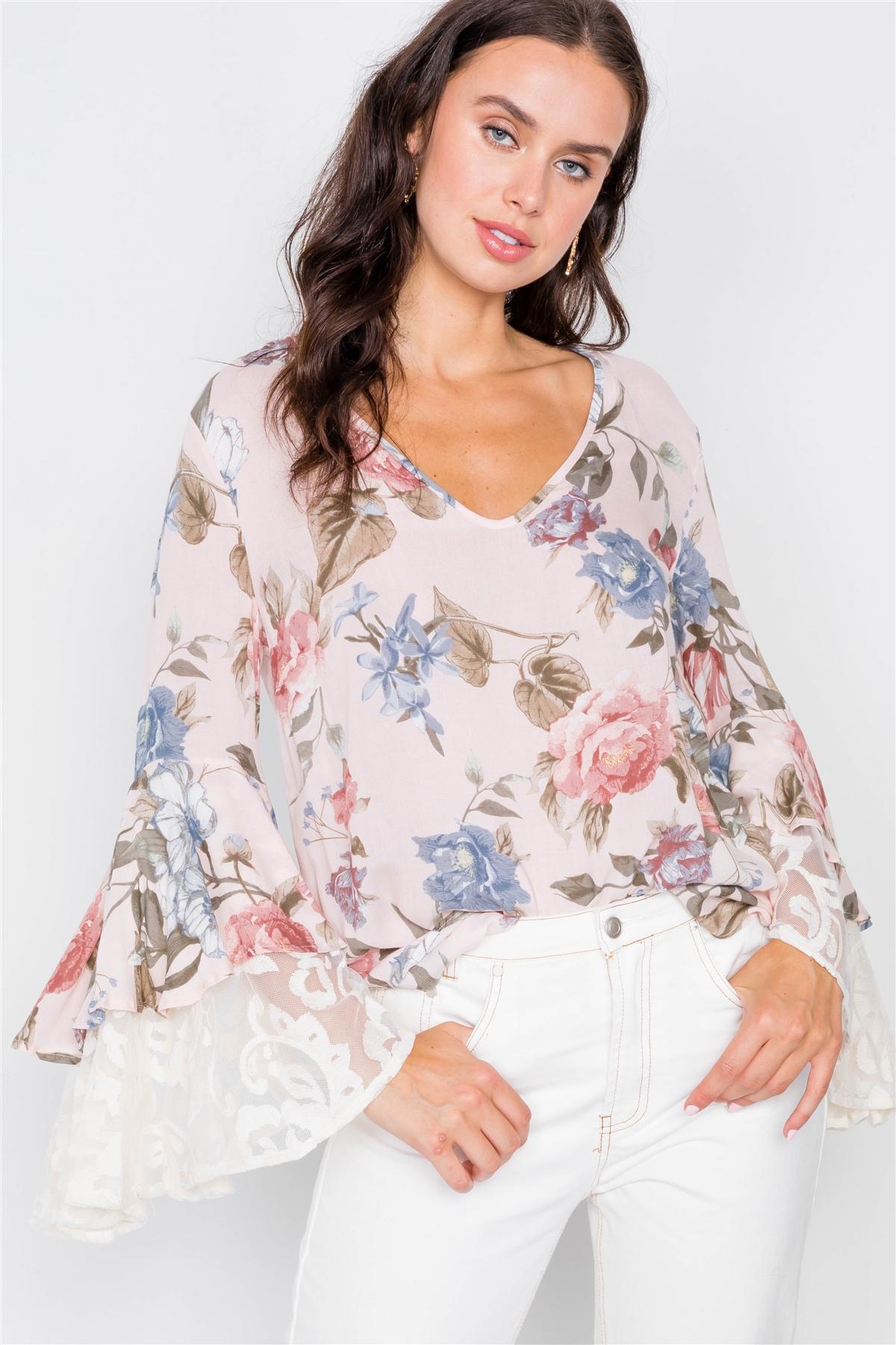 Blush & Floral Print Sheer Layered Trumpet Sleeve Blouse