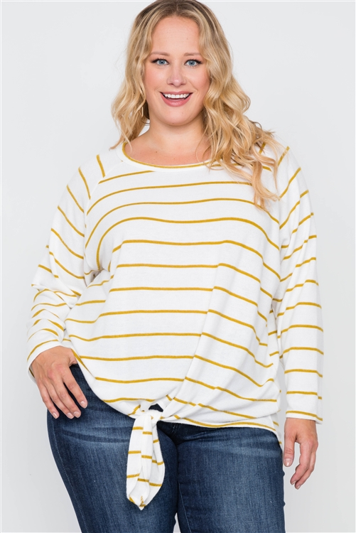 Plus Size Ivory Mustard Stripe Soft Long Sleeve Top