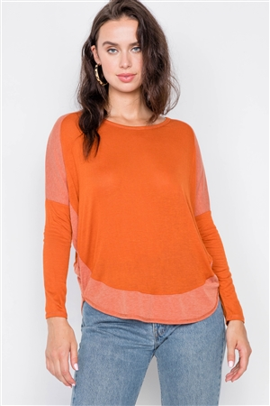 Orange Boat Neck Long Sleeve Top /2-2-2