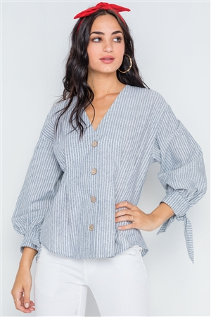 Grey Stripe Button Down Long Sleeve Boho Top