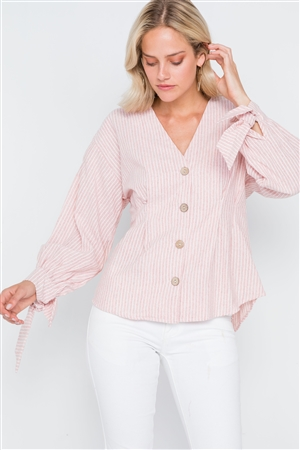Pink Stripe Button Down Long Sleeve Boho Top