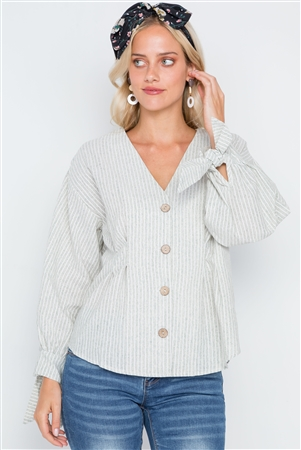 Sage Stripe Button Down Long Sleeve Boho Top