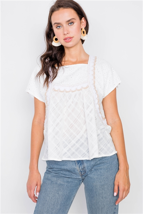 Ivory Floral Eyelet Square Neck High-Low Top