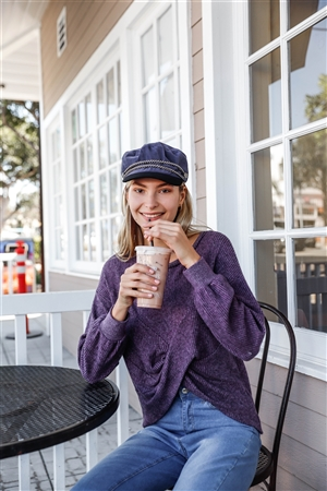 Berry Relaxed Pullover Long Sleeve Cross Front Sweater