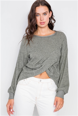 Moss Relaxed Pullover Long Sleeve Cross Front Top /2-2-2