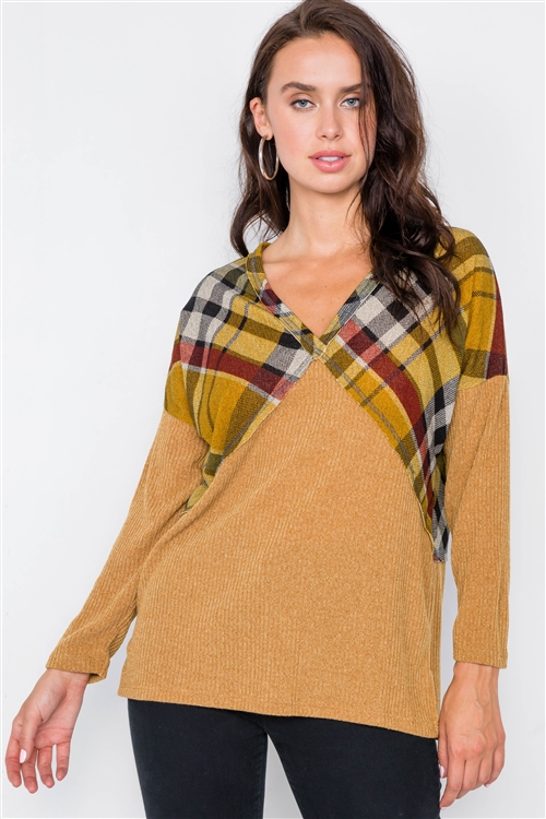 Mustard & Plaid Fabric Mix V-Neck Drop-Shoulder Sweater
