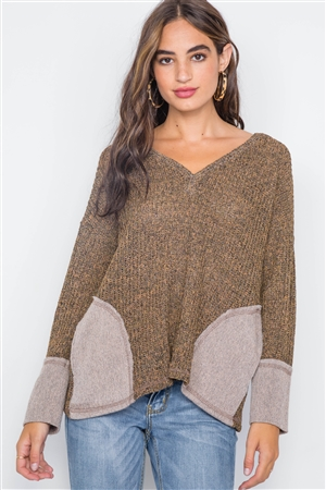 Leaf V-Neck Knit Long Sleeve Sweater