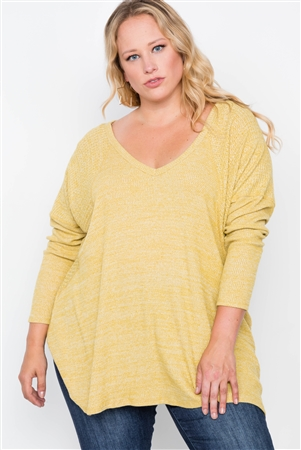Plus Size Mustard Knit Long Sleeve Top
