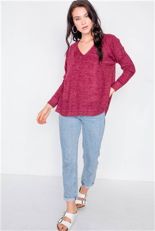 Burgundy V-Neck Contrast Fabric Raw Hem Oversize Sweater