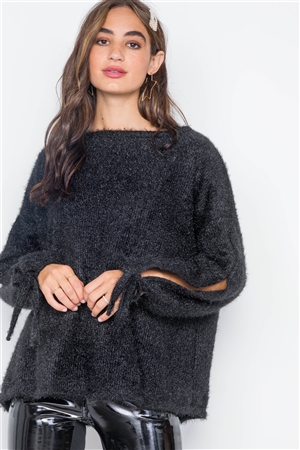 Black Fuzzy Slit Sleeves Casual Soft Sweater
