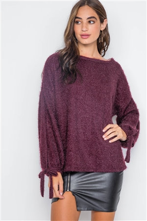 Violet Fuzzy Slit Sleeves Casual Soft Sweater