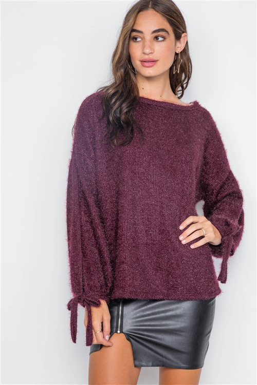 Violet Slit Sleeves Casual Soft Sweater