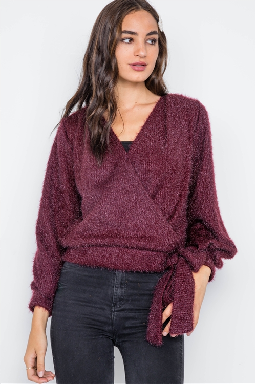 Violet Fuzzy Long Sleeve Surplice Sweater