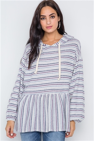 White Purple Stripe Long Sleeve Hooded Sweater
