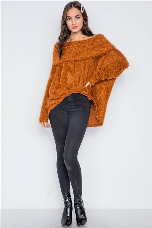 Golden Rust Fuzzy Off-The-Shoulder Sweater