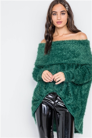 Green Fuzzy Off-The-Shoulder Sweater
