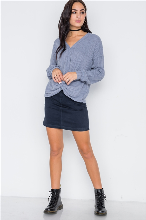 Ash Blue Front Twist Soft Long Sleeve Sweater