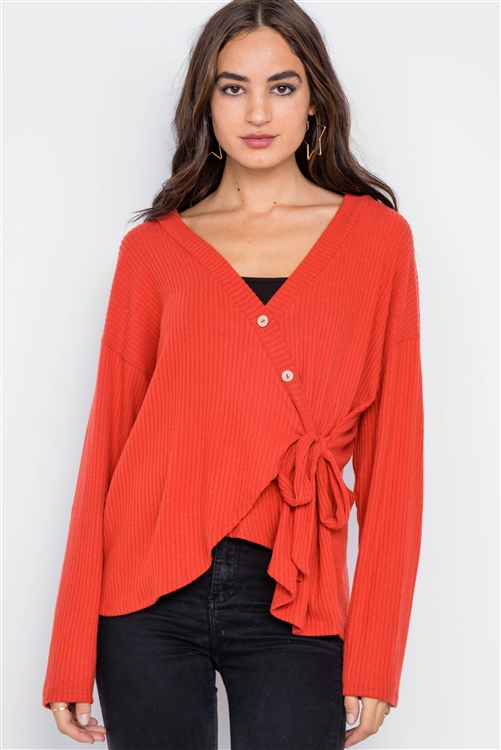 Orange Red Front-Tie Surplice Neck Sweater