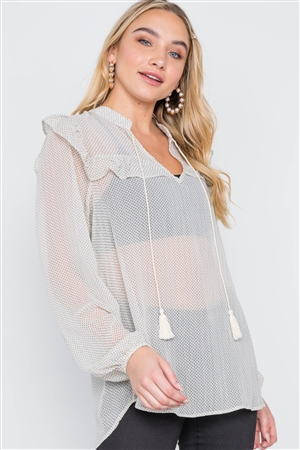 Ivory Polka Dot Long Sleeve Chiffon Ruffle Top