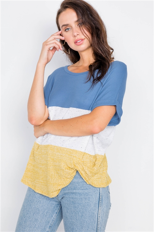 Denim Color Block Side Twist Front Cuffed Sleeve Top