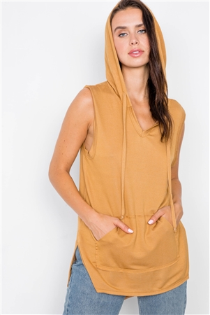Caramel Sleeveless Hooded Muscle Top